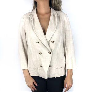Anthropologie Coquille Linen Blazer Jacket Size 14